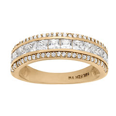 Diamonart Womens 2 1/2 CT. T.W. Lab Created White Cubic Zirconia 10K Gold Band