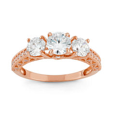 Diamonart Womens 2 1/2 CT. T.W. Lab Created Round White Cubic Zirconia 10K Gold 3-Stone Ring
