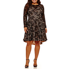 B. Darlin Long Sleeve Party Dress-Juniors Plus