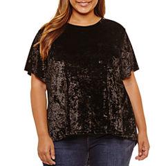 Boutique + Short Sleeve Split Back Velvet Blouse-Plus
