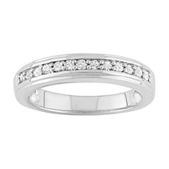 Womens 1/4 CT. T.W. Genuine Round White Diamond Sterling Silver Stackable Ring