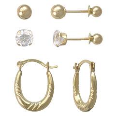 Girls 14K Gold Hoop & Stud Earring Set