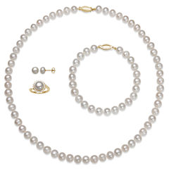 Womens 4-pc. Pearl 14K Gold Over Silver Jewelry Set