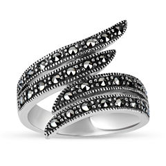 Swarovski Womens Black Marcasite Sterling Silver Bypass Ring