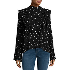 Miss Chievous Long Sleeve High Neck Woven Star Blouse-Juniors