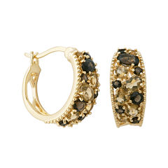 Color-Enhanced Smoky and Yellow Quartz Hoop Earrings