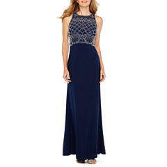 Jackie Jon Beaded Bodice Formal Gown