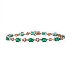 Womens Diamond Accent Green Emerald 10K Gold Sterling Silver Tennis Bracelet