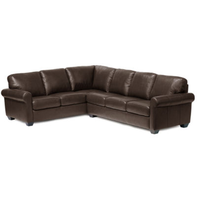 Leather Possibilities Roll Arm 2pc. Left Arm Corner Sofa Sectional