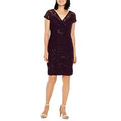 Scarlett Short Sleeve Embellished Sheath Dress