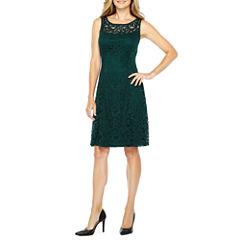 Liz Claiborne Sleeveless Lace Fit & Flare Dress