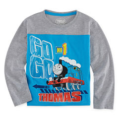 Thomas The Tank Long Sleeve Crew Neck Thomas and Friends T-Shirt-Toddler Boys