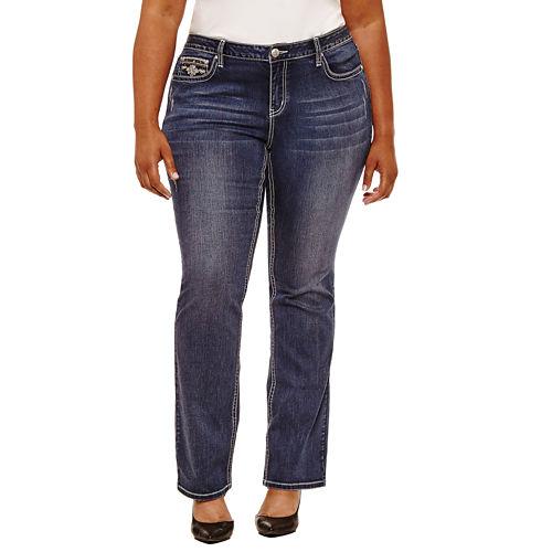 Boutique   30 Embellished Pocket Bootcut Jeans-Plus