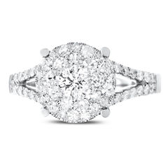Brilliant Dream™  1 CT. T.W. Diamond Cluster Split-Shank Engagement Ring