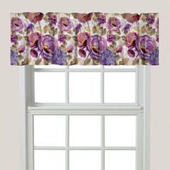 Laural Home Purple Floral Garden Rod-Pocket Tailored Valance