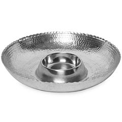 "St. Croix Trading Kindwer 16"" Hammered Aluminum Chip & Dip Bowl"