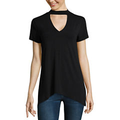 a.n.a Short Sleeve V Neck Jersey Blouse