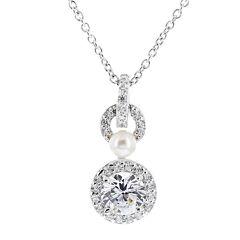 DiamonArt® Cubic Zirconia Sterling Silver Round Pendant Necklace