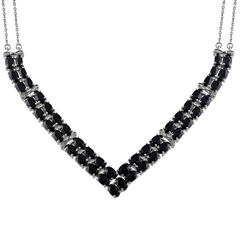 Womens Black Sapphire Chevron Necklaces