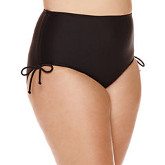 Arizona Black High-Waist Hipster Swim Bottoms - Juniors Plus