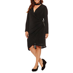 DR Collection Long Sleeve Wrap Dress-Plus