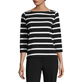 Liz Claiborne 3/4 Sleeve Boat Neck Stripe T-Shirt-Womens