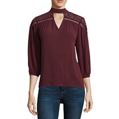 a.n.a 3/4 Sleeve High Neck Woven Blouse