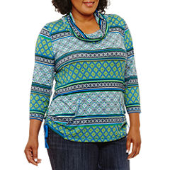 Lark Lane Fall Festival Cowl Neck Stripe Pocket Tunic-Plus