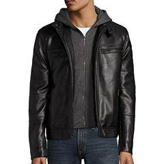 Arizona Long-Sleeve Faux-Leather Hooded Racer Jacket