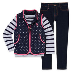 U.S. Polo Assn. 3-pc. Stripe Pant Set Girls