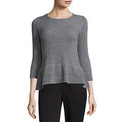 Liz Claiborne Midnight Garden Collection 3/4 Sleeve Scoop Neck Pullover Sweater