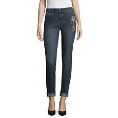 Liz Claiborne Skinny Boyfriend Embroidered Jean