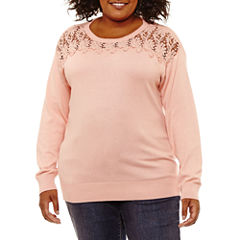 St. John's Bay Long Sleeve Lace Yoke Sweater