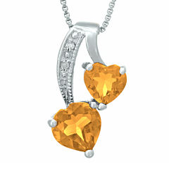 Genuine Citrine and Diamond-Accent Sterling Silver Double-Heart Pendant Necklace