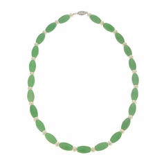Cultured Freshwater Pearl & Genuine Jade Sterling Silver Necklace