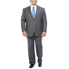 Stafford® 100% Wool Super 100 Gray Glen Check Suit Separates - Portly