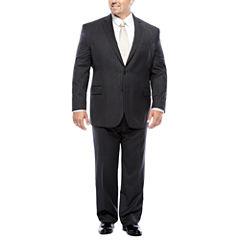 Stafford® 100% Wool Super 100s Charcoal Chalk Stripe Suit Separates - Big & Tall