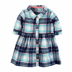 Carter's Long Sleeve Plaid A-Line Dress - Baby Girls