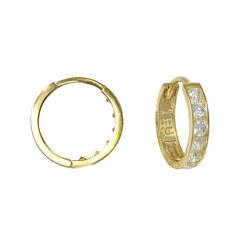 Girls 14K Yellow Gold Cubic Zirconia Hoop Earrings