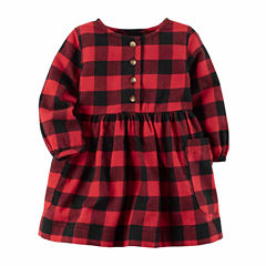Carter's Long Sleeve Checked A-Line Dress - Baby Girls