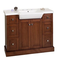 American Imaginations 37.8-in. W x 22.5-in. D Marble Top In Beige Color For 4-in. o.c. Faucet