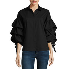 a.n.a Tiered Sleeve Shirt Long Sleeve Y Neck Woven Blouse
