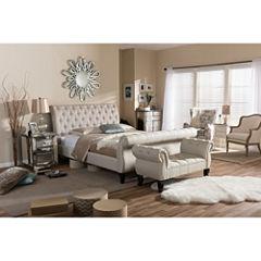 Bedroom Set Baxton Studio Arran Linen Upholstered Platform Bed