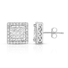 TruMiracle® 1 CT. T.W. Princess White Diamond 10K Gold Stud Earrings