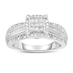 Womens 1/2 CT. T.W. Genuine Multi-Shape White Diamond 10K Gold Engagement Ring