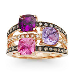 LIMITED QUANTITIES Grand Sample Sale™ by Le Vian® Chocolatier® Genuine Passion Fruit Tourmaline™, Rhodolite and Amethyst set in 14k Strawberry Gold® Ring