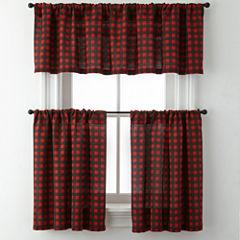 Jackson Plaid Rod-Pocket Kitchen Curtains