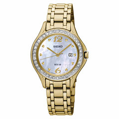 Seiko Womens Gold Tone Bracelet Watch-Sut314