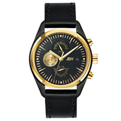 JBW Mens The Woodall Diamond-Accent Dial Gold Tone and Black Leather Strap Watch J6300B