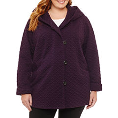 Liz Claiborne Midweight Hooded Peacoat-Plus